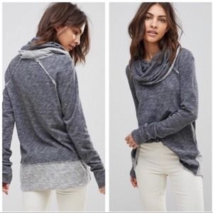 Free People Beach Gray Two Body Cowl Neck Sweater
